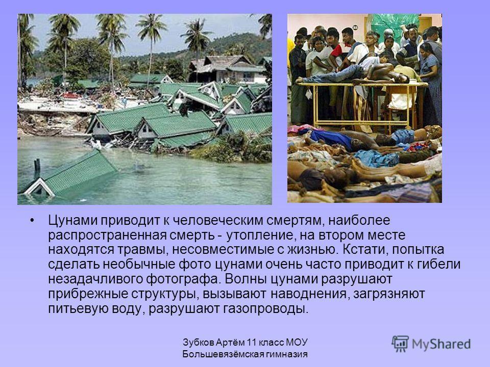 Зубков Артём 11 класс МОУ Большевязёмская гимназия Цунами приводит к человеческим смертям, наиболее распространенная смерть - утопление, на втором месте находятся травмы, несовместимые с жизнью. Кстати, попытка сделать необычные фото цунами очень час