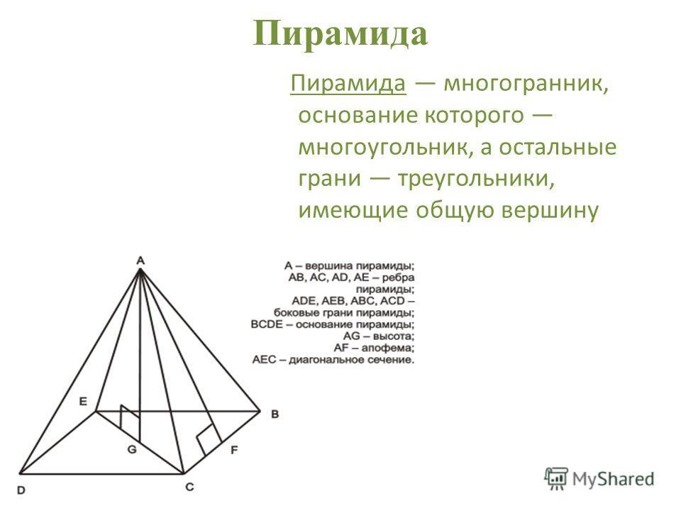 Пирамида Пирамида многогранник, основание которого многоугольник, а остальные грани треугольники, имеющие общую вершину