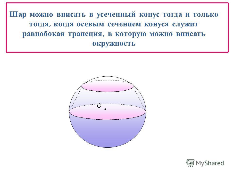 Шар можно вписать в усеченный конус тогда и только тогда, когда осевым сечением конуса служит равнобокая трапеция, в которую можно вписать окружность O.