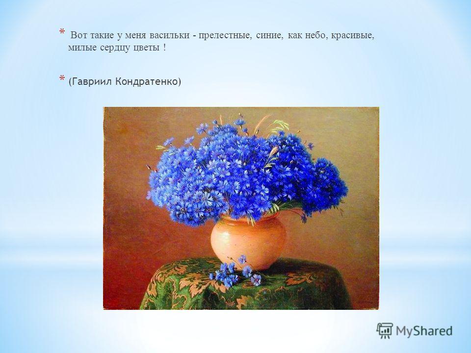 * Вот такие у меня васильки - прелестные, синие, как небо, красивые, милые сердцу цветы ! * (Гавриил Кондратенко)