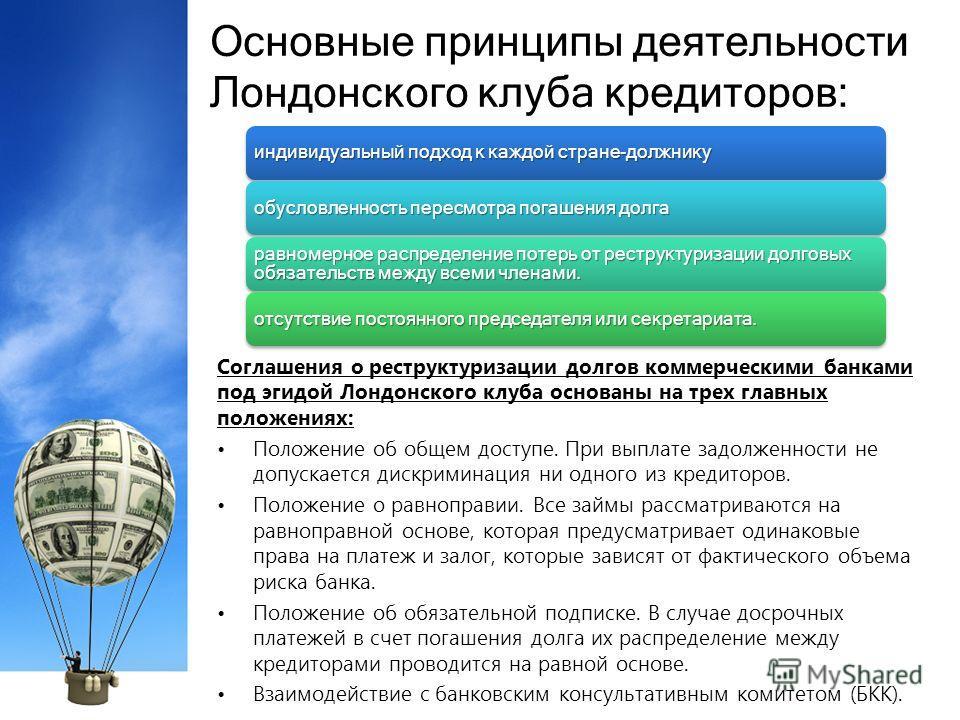 Основные принципы деятельности Лондонского клуба кредиторов: Соглашения о реструктуризации долгов коммерческими банками под эгидой Лондонского клуба основаны на трех главных положениях: Положение об общем доступе. При выплате задолженности не допуска