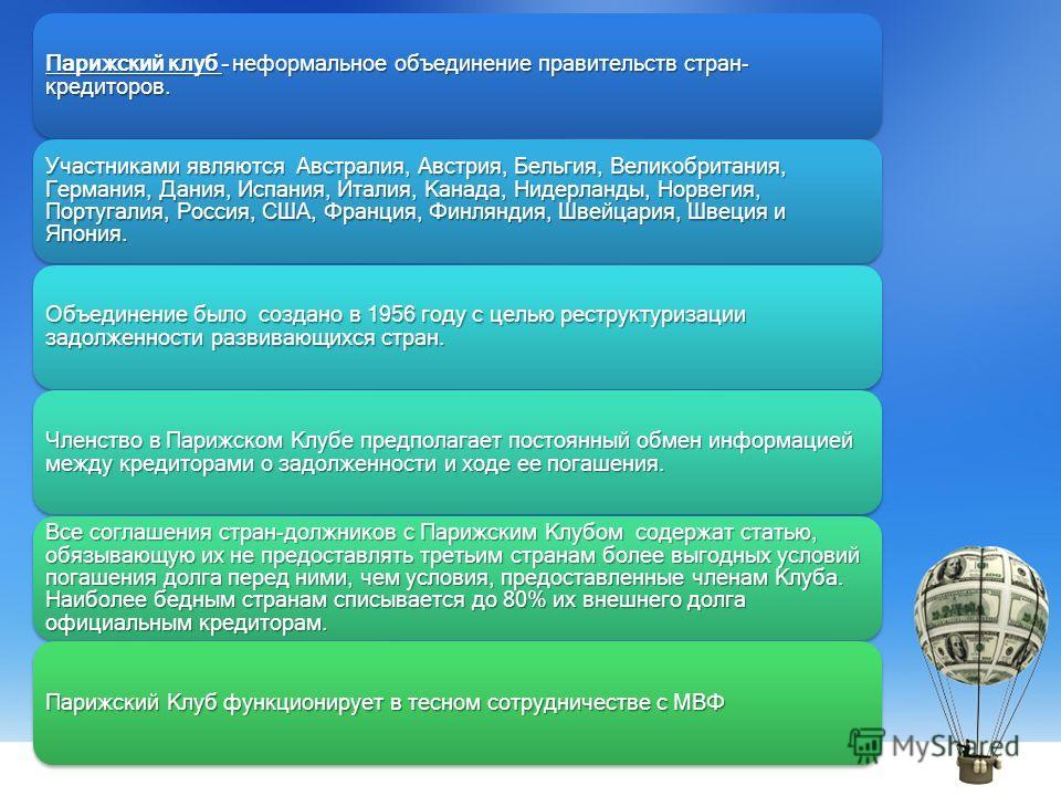 Парижский клуб – неформальное объединение правительств стран- кредиторов. Участниками являются Австралия, Австрия, Бельгия, Великобритания, Германия, Дания, Испания, Италия, Канада, Нидерланды, Норвегия, Португалия, Россия, США, Франция, Финляндия, Ш