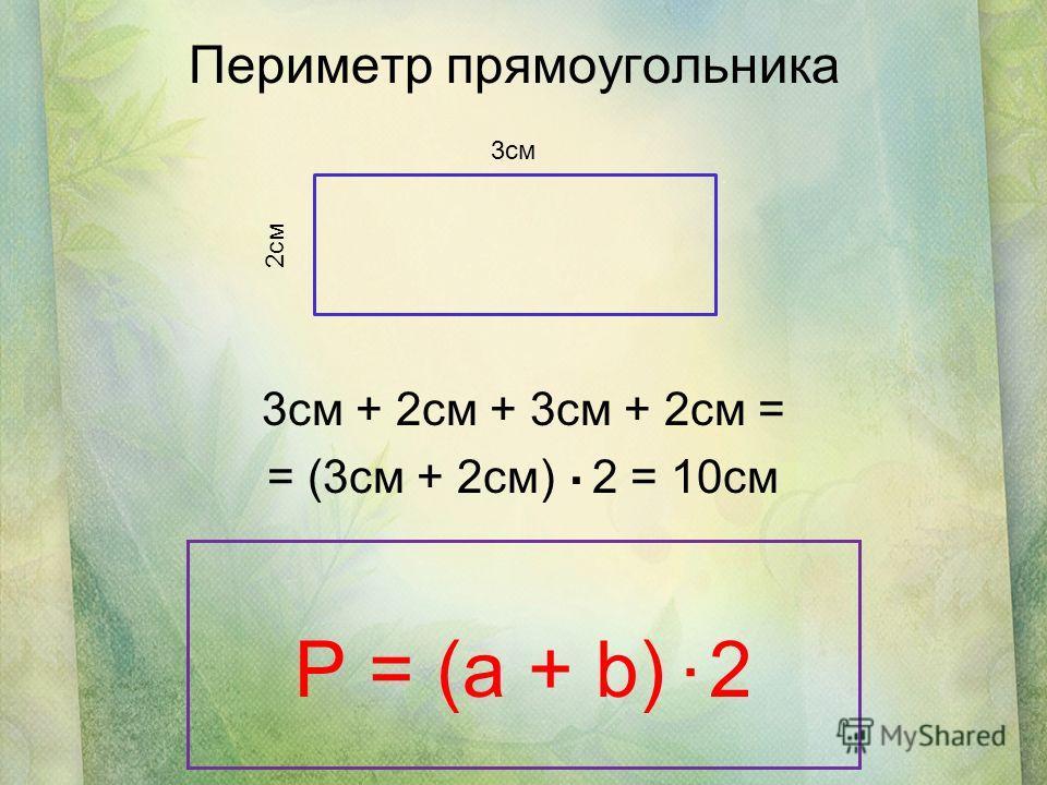 Периметр прямоугольника 3см + 2см + 3см + 2см = = (3см + 2см) 2 = 10см 3см 2см P = (a + b) 2..
