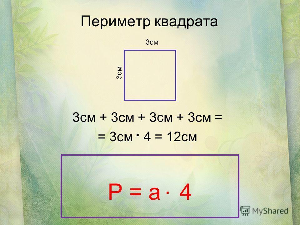 Периметр квадрата 3см + 3см + 3см + 3см = = 3см 4 = 12см 3см P = a 4..