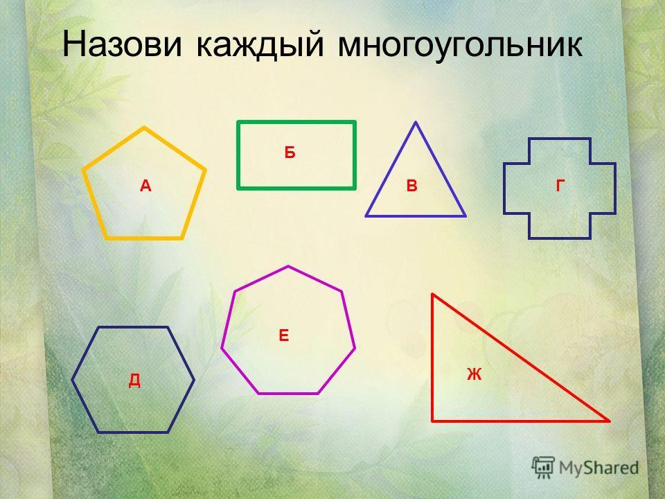 Назови каждый многоугольник А Б ВГ Д Е Ж