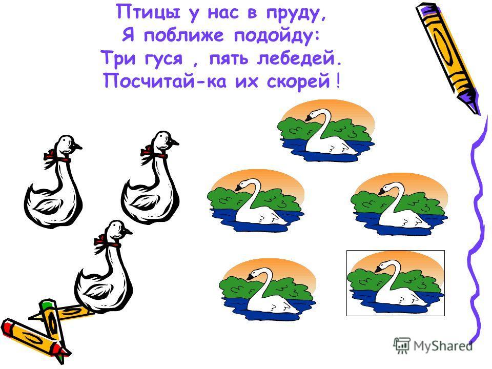 Птицы у нас в пруду, Я поближе подойду: Три гуся, пять лебедей. Посчитай-ка их скорей !
