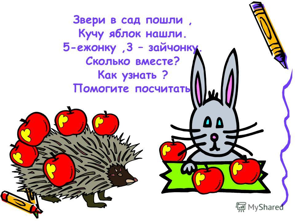 Звери в сад пошли, Кучу яблок нашли. 5-ежонку,3 – зайчонку. Сколько вместе? Как узнать ? Помогите посчитать.