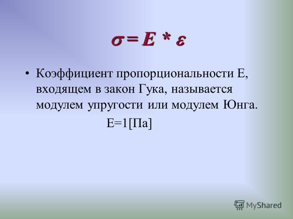 Коэффициент пропорциональности Е, входящем в закон Гука, называется модулем упругости или модулем Юнга. Е=1[Па]