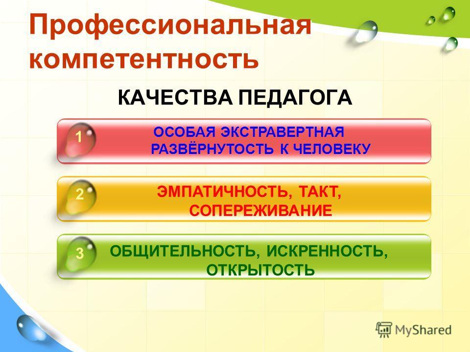 Профессиональная компетентность КАЧЕСТВА ПЕДАГОГА ОСОБАЯ ЭКСТРАВЕРТНАЯ РАЗВЁРНУТОСТЬ К ЧЕЛОВЕКУ ЭМПАТИЧНОСТЬ, ТАКТ, СОПЕРЕЖИВАНИЕ ОБЩИТЕЛЬНОСТЬ, ИСКРЕННОСТЬ, ОТКРЫТОСТЬ 1 2 3