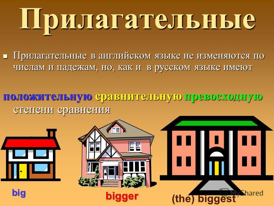Прилагательные Прилагательные в английском языке не изменяются по числам и падежам, но, как и в русском языке имеют Прилагательные в английском языке не изменяются по числам и падежам, но, как и в русском языке имеют положительную сравнительную прево