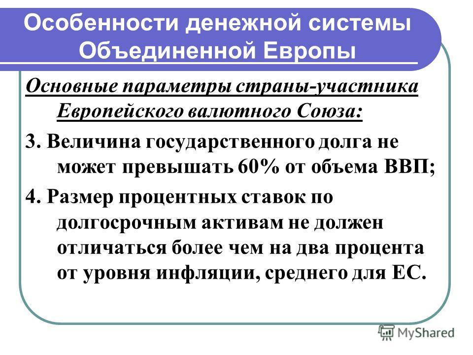 Особенности денежной системы Объединенной Европы Основные параметры страны-участника Европейского валютного Союза: 3. Величина государственного долга не может превышать 60% от объема ВВП; 4. Размер процентных ставок по долгосрочным активам не должен