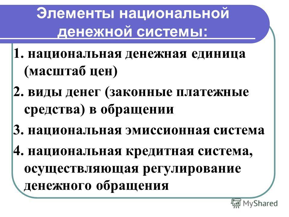 Элементы национальной денежной системы: 1. национальная денежная единица (масштаб цен) 2. виды денег (законные платежные средства) в обращении 3. национальная эмиссионная система 4. национальная кредитная система, осуществляющая регулирование денежно