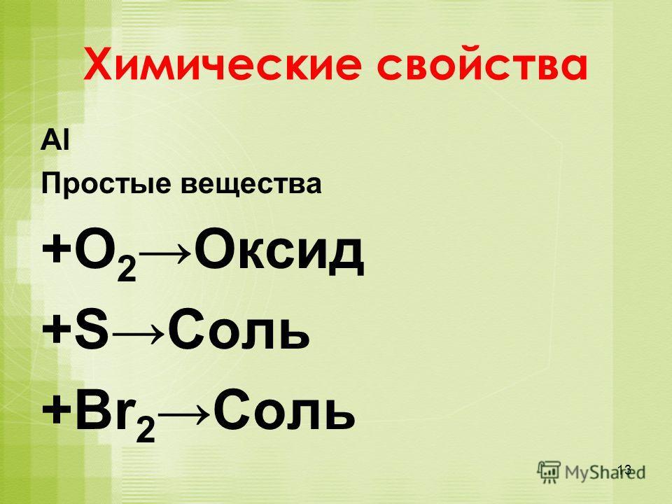 Химические свойства Al Простые вещества +O 2Оксид +SСоль +Br 2 Соль 13
