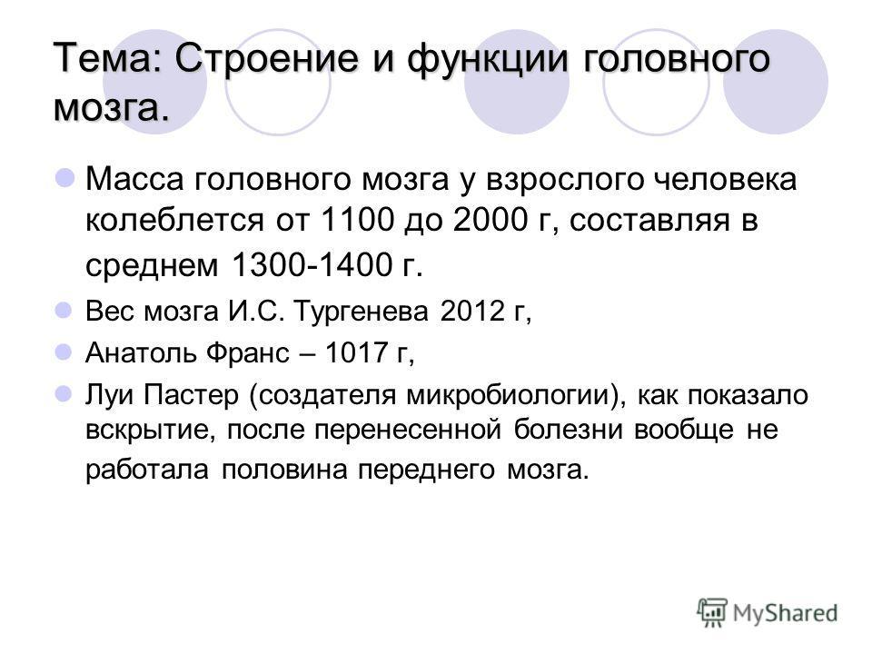 Тема: Строение и функции головного мозга. Масса головного мозга у взрослого человека колеблется от 1100 до 2000 г, составляя в среднем 1300-1400 г. Вес мозга И.С. Тургенева 2012 г, Анатоль Франс – 1017 г, Луи Пастер (создателя микробиологии), как пок