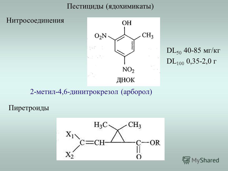 Пестициды (ядохимикаты) Нитросоединения 2-метил-4,6-динитрокрезол (арборол) DL 50 40-85 мг/кг DL 100 0,35-2,0 г Пиретроиды