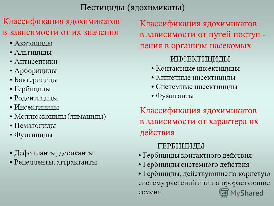 Пестициды (ядохимикаты) Классификация ядохимикатов в зависимости от их значения Акарициды Альгициды Антисептики Арборициды Бактерициды Гербициды Родентициды Инсектициды Моллюскоциды (лимациды) Нематоциды Фунгициды Дефолианты, десиканты Репелленты, ат