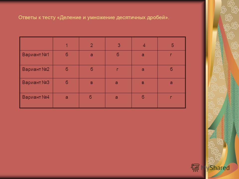 Ответы к тесту «Деление и умножение десятичных дробей». 1 2 3 4 5 Вариант 1 б а б а г Вариант 2 б б г а б Вариант 3 б в а в а Вариант 4 а б а б г