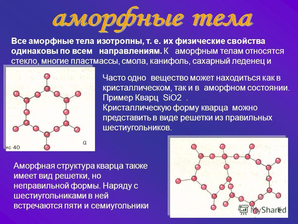 Часто одно вещество может находиться как в кристаллическом, так и в аморфном состоянии. Пример Кварц SiO2. Кристаллическую форму кварца можно представить в виде решетки из правильных шестиугольников. Аморфная структура кварца также имеет вид решетки,