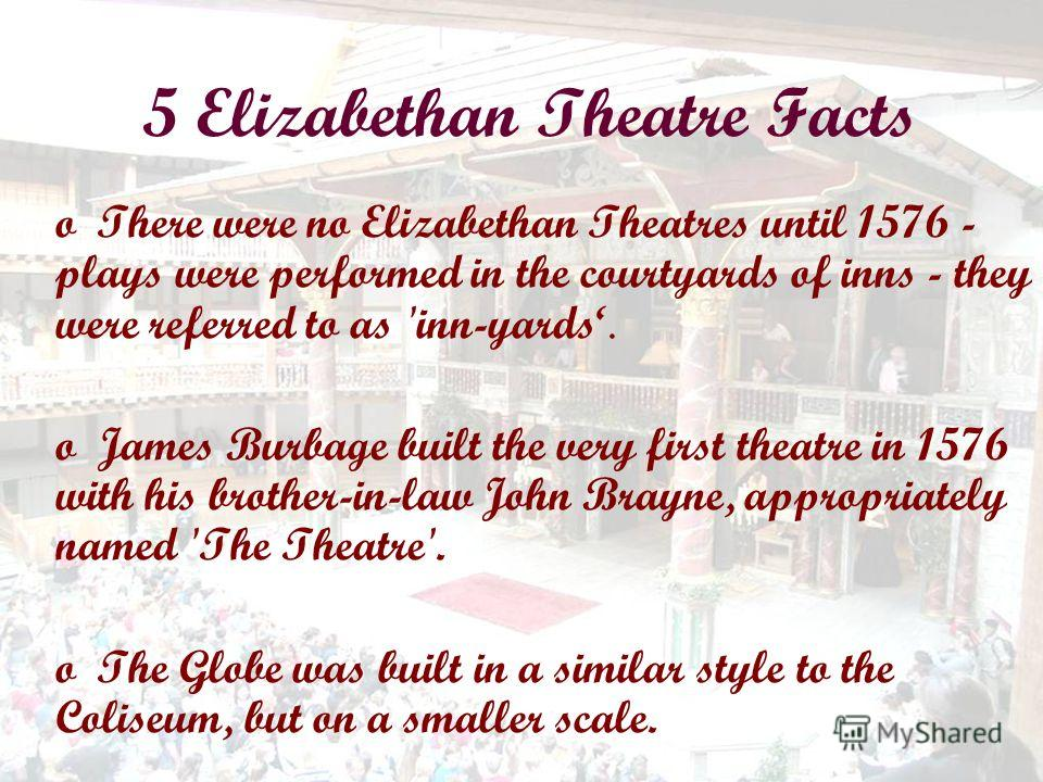 5 Elizabethan Theatre Facts oThere were no Elizabethan Theatres until 1576 - plays were performed in the courtyards of inns - they were referred to as 'inn-yards. oJames Burbage built the very first theatre in 1576 with his brother-in-law John Brayne