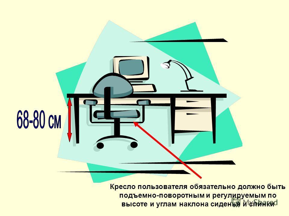 Кресло пользователя обязательно должно быть подъемно-поворотным и регулируемым по высоте и углам наклона сиденья и спинки