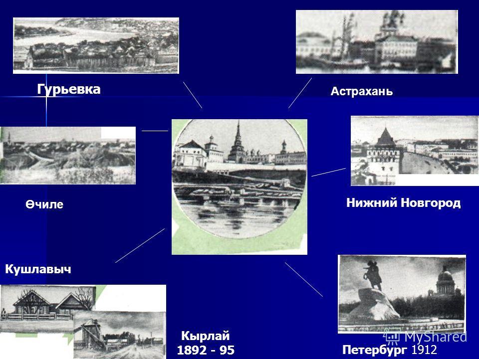 Петербург 1912 Нижний Новгород Кырлай 1892 - 95 Кушлавыч Гурьевка Өчиле Астрахань