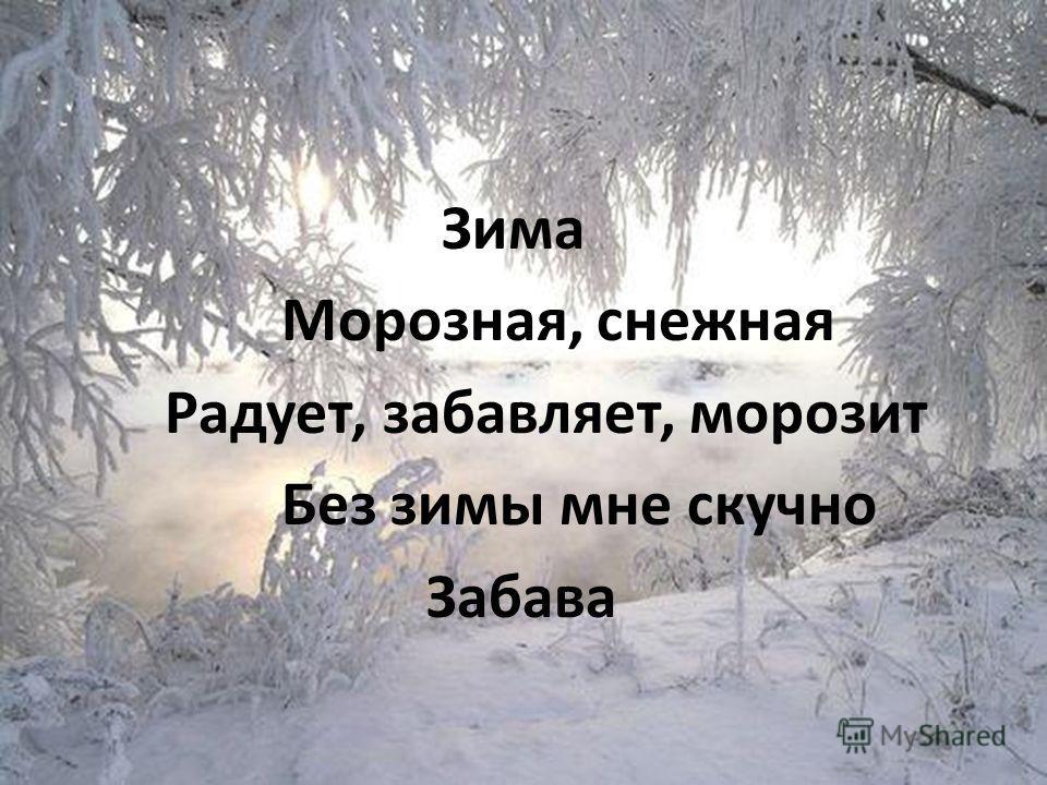 Зима Морозная, снежная Радует, забавляет, морозит Без зимы мне скучно Забава