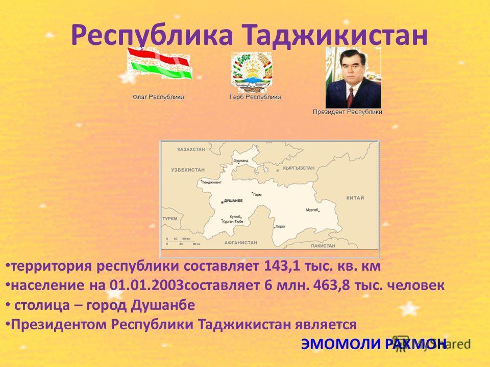 Республика Таджикистан территория республики составляет 143,1 тыс. кв. км население на 01.01.2003составляет 6 млн. 463,8 тыс. человек столица – город Душанбе Президентом Республики Таджикистан является ЭМОМОЛИ РАХМОН
