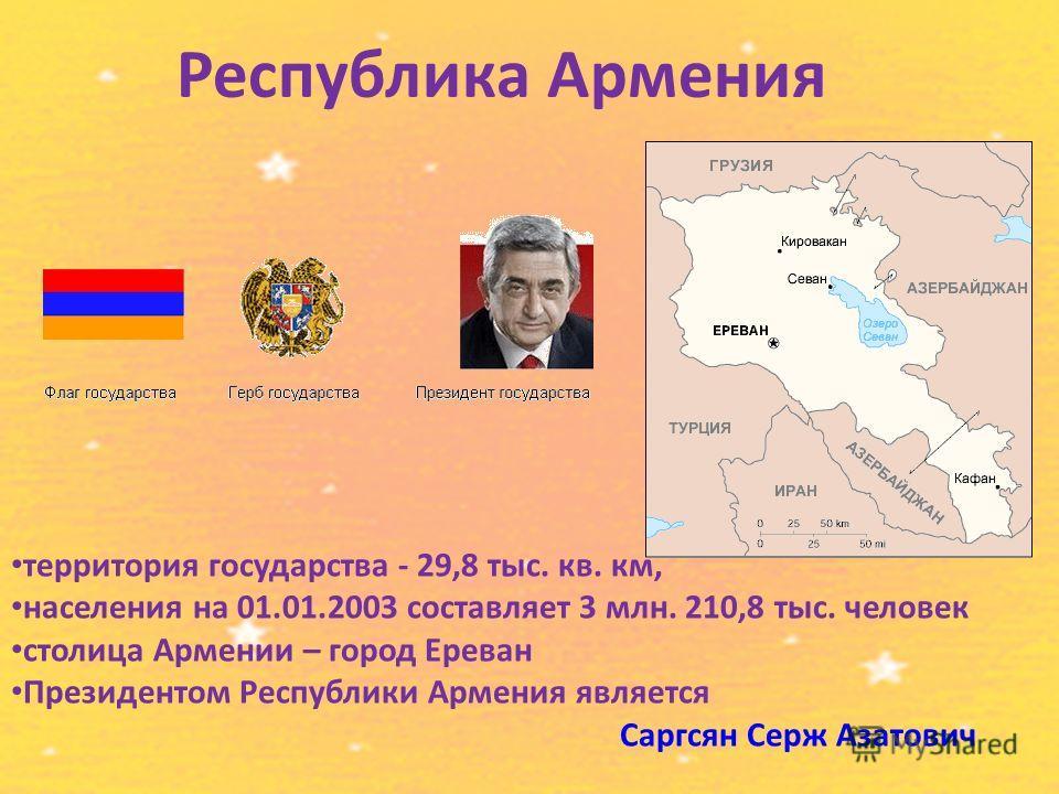 Республика Армения территория государства - 29,8 тыс. кв. км, населения на 01.01.2003 составляет 3 млн. 210,8 тыс. человек столица Армении – город Ереван Президентом Республики Армения является Саргсян Cерж Азатович