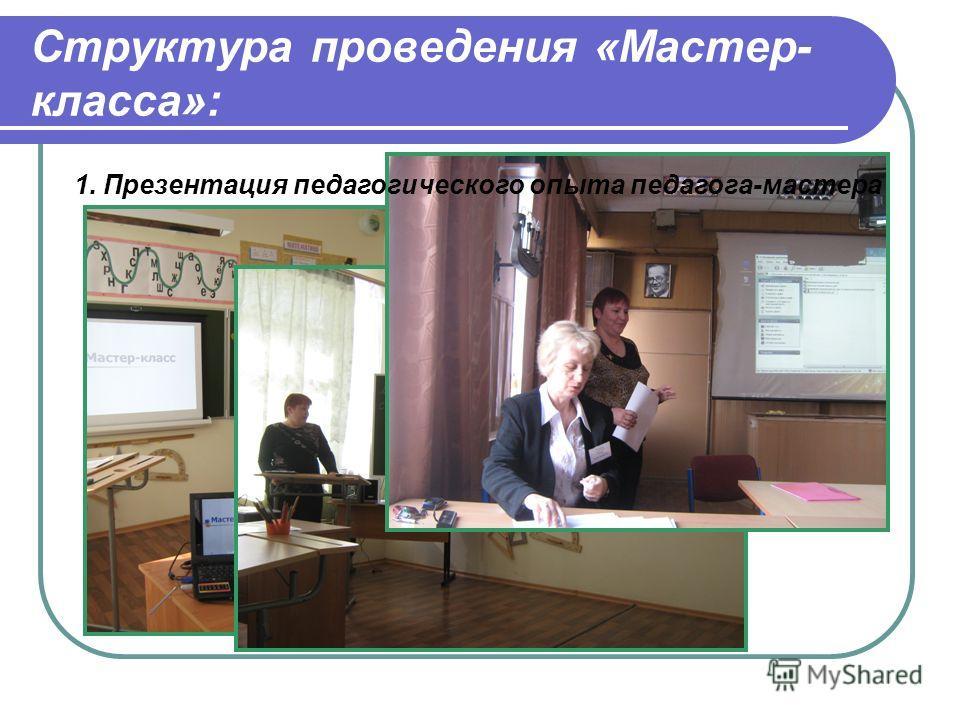 Структура проведения «Мастер- класса»: 1. Презентация педагогического опыта педагога-мастера