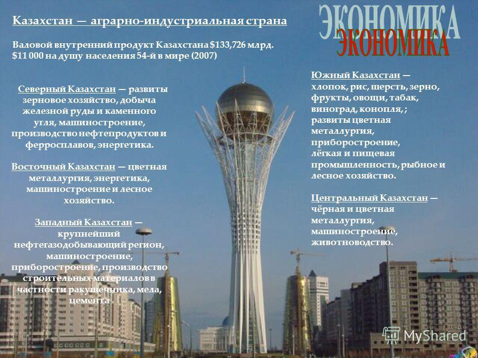 Северный Казахстан развиты зерновое хозяйство, добыча железной руды и каменного угля, машиностроение, производство нефтепродуктов и ферросплавов, энергетика. Восточный Казахстан цветная металлургия, энергетика, машиностроение и лесное хозяйство. Запа