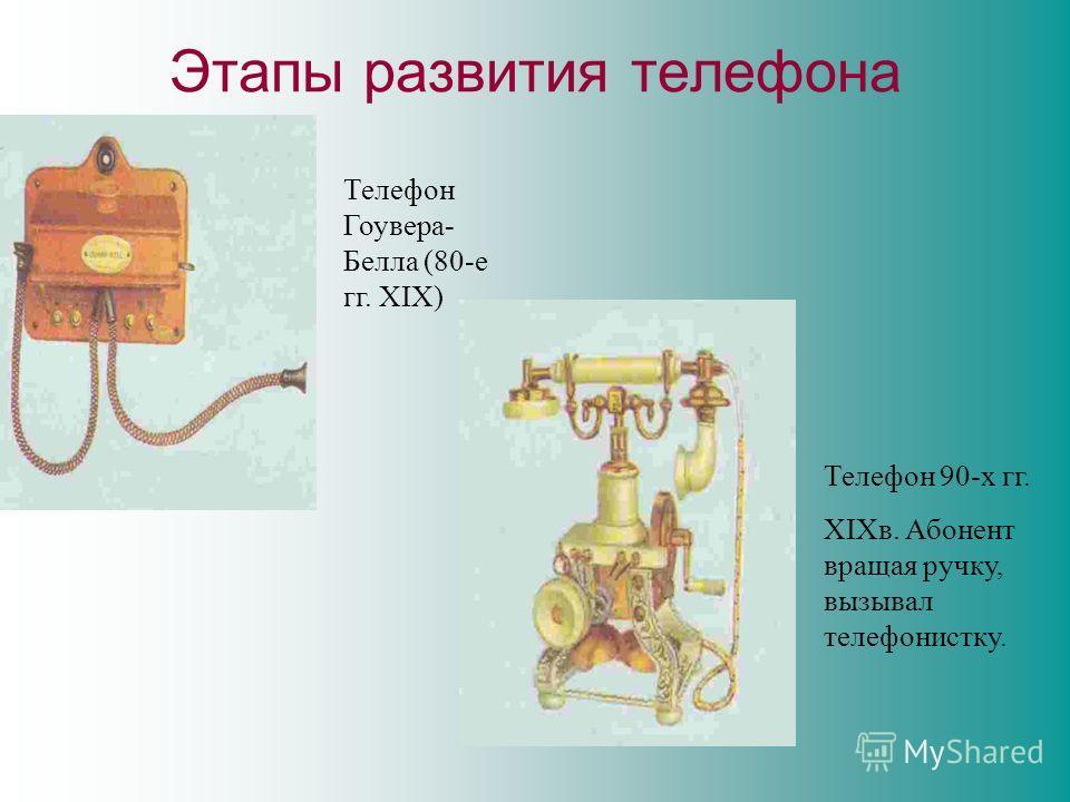 Этапы развития телефона Телефон Гоувера- Белла (80-е гг. XIX) Телефон 90-х гг. XIXв. Абонент вращая ручку, вызывал телефонистку.