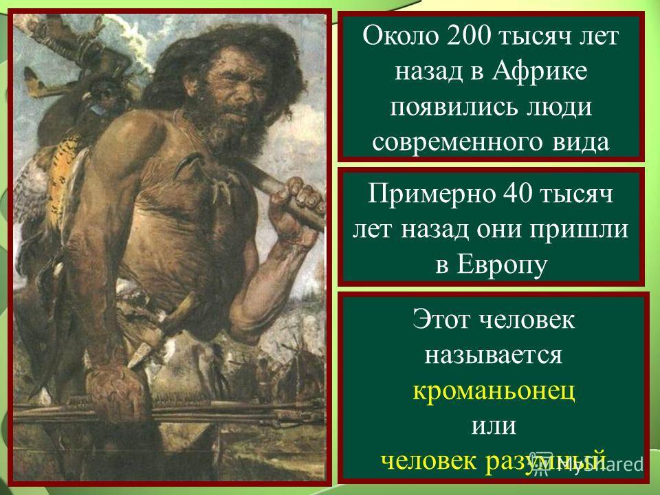 Около 200 тысяч лет назад в Африке появились люди современного вида Примерно 40 тысяч лет назад они пришли в Европу Этот человек называется кроманьонец или человек разумный