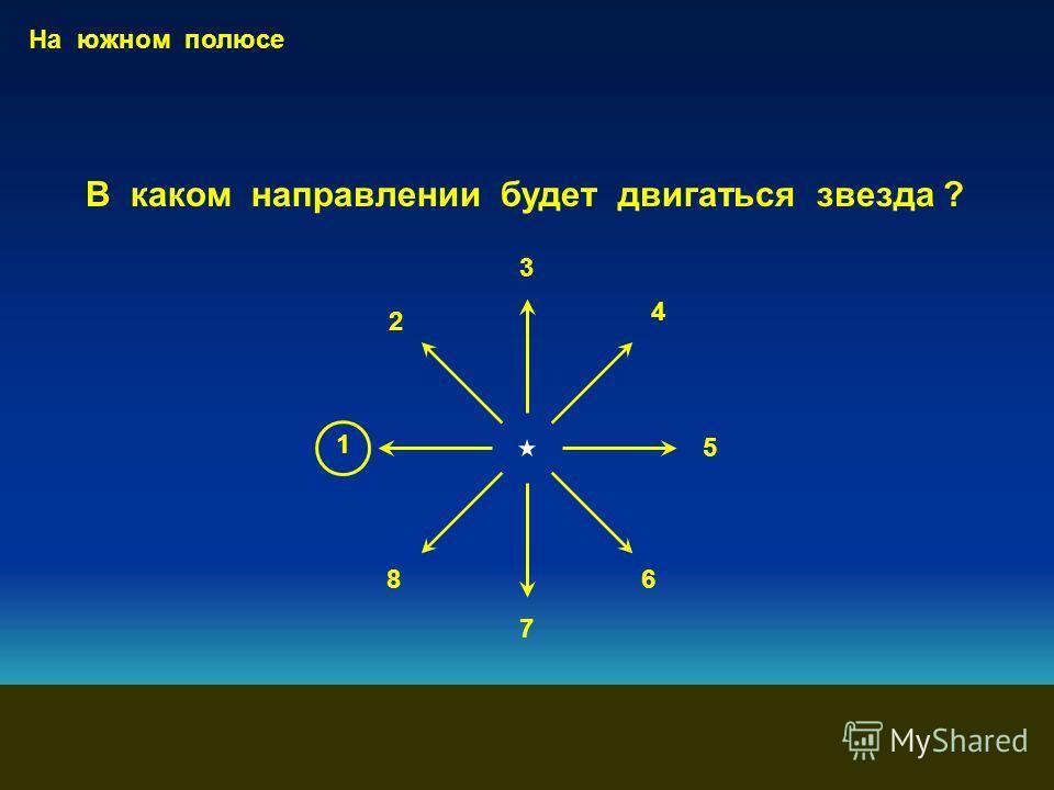 1 2 3 4 На южном полюсе В каком направлении будет двигаться звезда ? 5 6 7 8