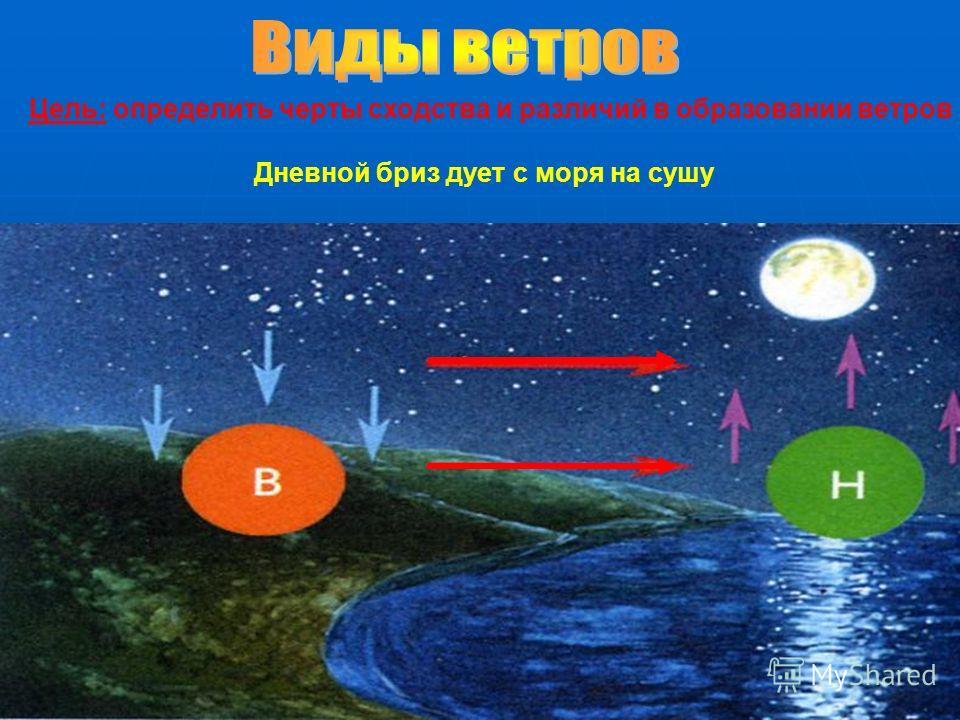 Цель: определить черты сходства и различий в образовании ветров Дневной бриз дует с моря на сушу