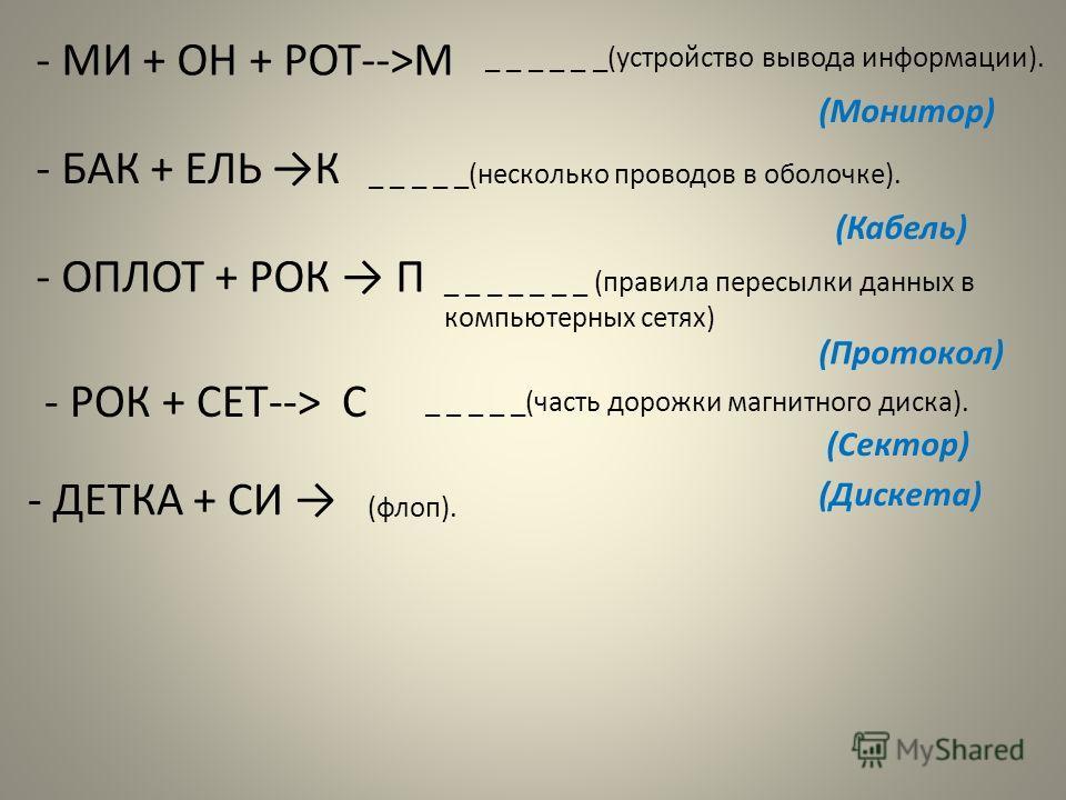 - МИ + ОН + РОТ-->М _ _ _ _ _ _(устройство вывода информации). (Монитор) - БАК + ЕЛЬ К _ _ _ _ _(несколько проводов в оболочке). (Кабель) - ОПЛОТ + РОК П _ _ _ _ _ _ _ (правила пересылки данных в компьютерных сетях) (Протокол) - РОК + СЕТ--> С _ _ _