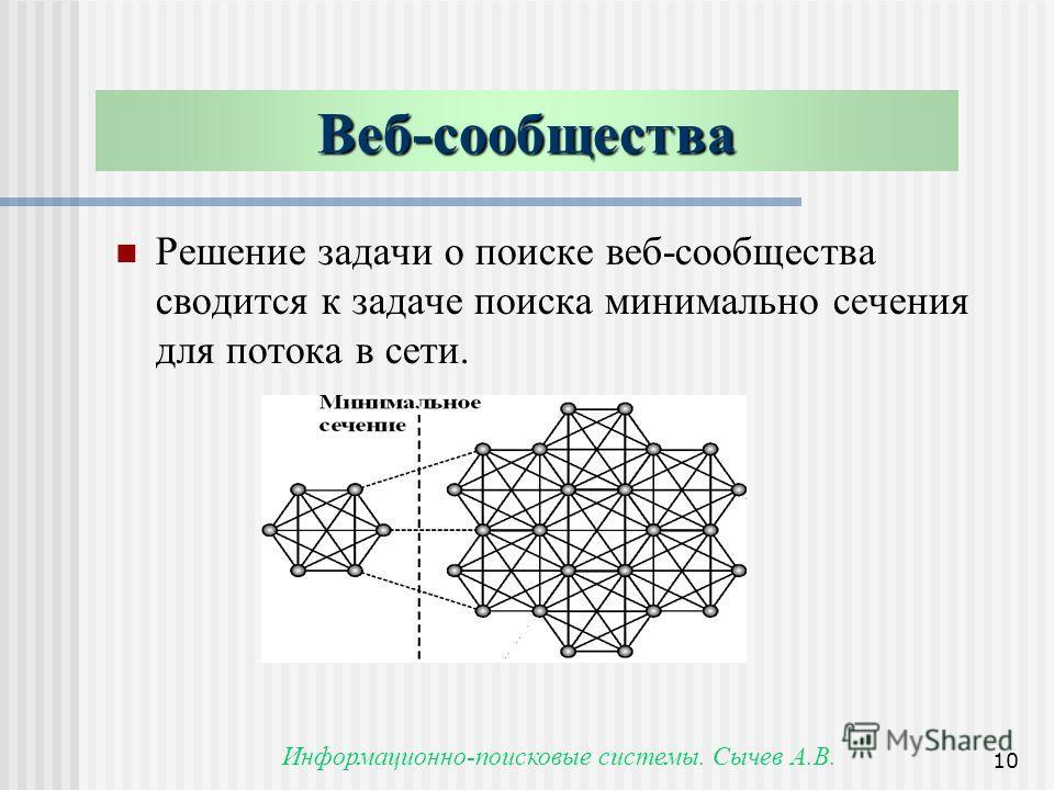 Информационно-поисковые системы. Сычев А.В. 10 Веб-сообщества Решение задачи о поиске веб-сообщества сводится к задаче поиска минимально сечения для потока в сети.