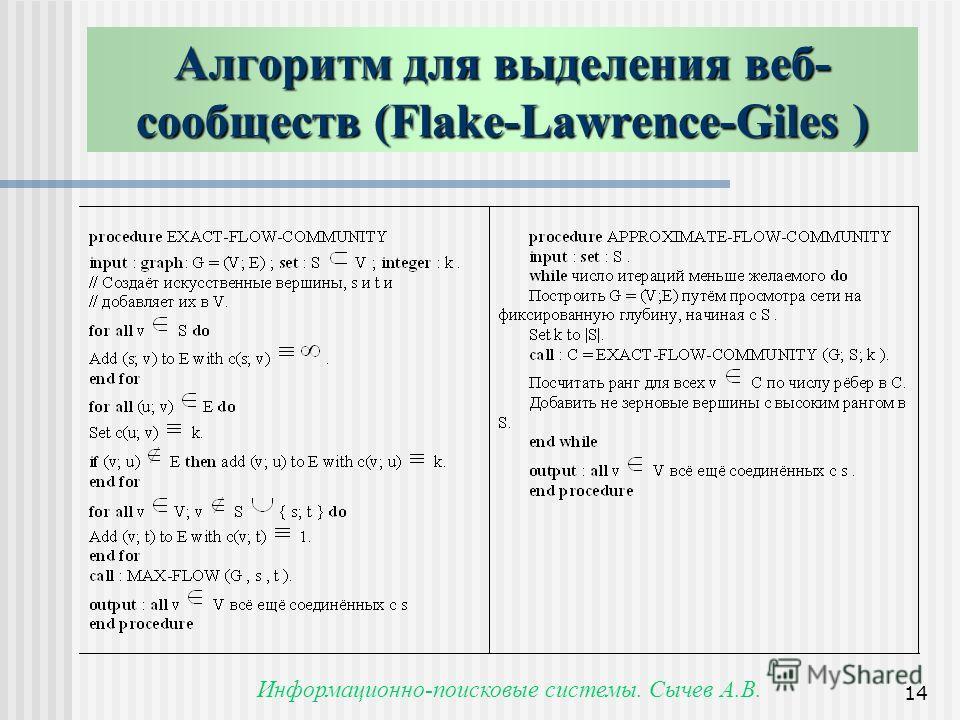 Информационно-поисковые системы. Сычев А.В. 14 Алгоритм для выделения веб- сообществ (Flake-Lawrence-Giles) Алгоритм для выделения веб- сообществ (Flake-Lawrence-Giles )