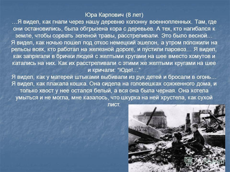 Юра Карпович (8 лет) …Я видел, как гнали через нашу деревню колонну военнопленных. Там, где они остановились, была обгрызена кора с деревьев. А тех, кто нагибался к земле, чтобы сорвать зеленой травы, расстреливали. Это было весной… Я видел, как ночь