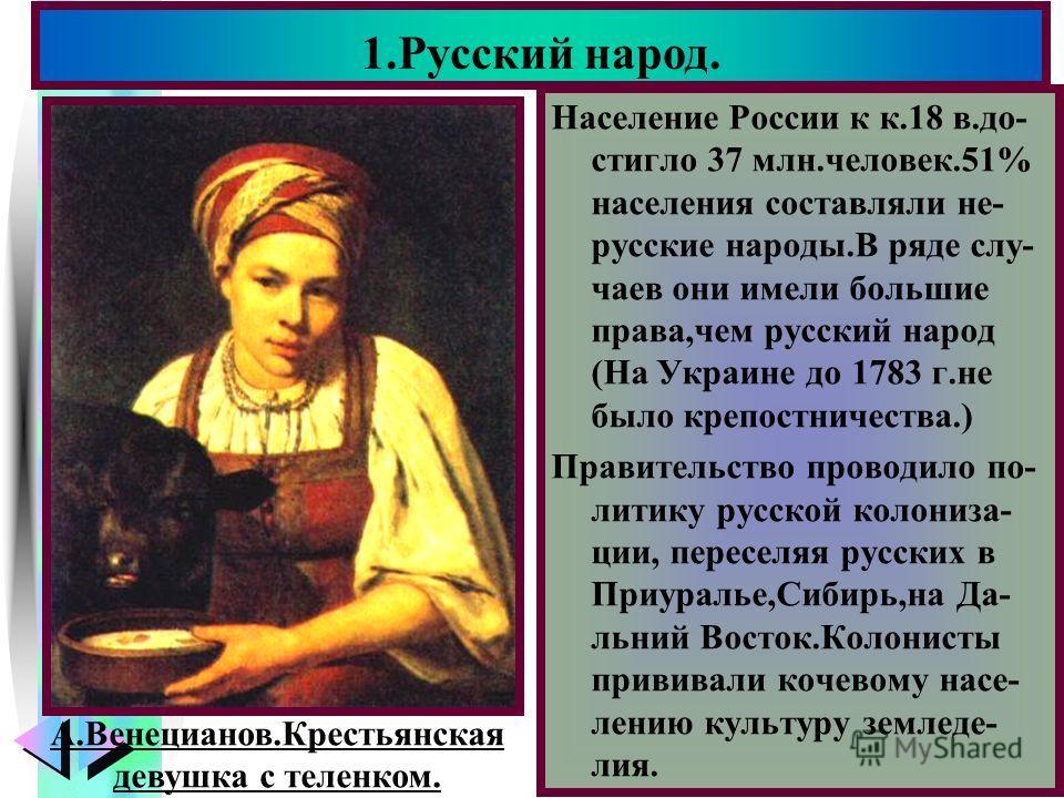 Меню Население России к к.18 в.до- стигло 37 млн.человек.51% населения составляли не- русские народы.В ряде слу- чаев они имели большие права,чем русский народ (На Украине до 1783 г.не было крепостничества.) Правительство проводило по- литику русской
