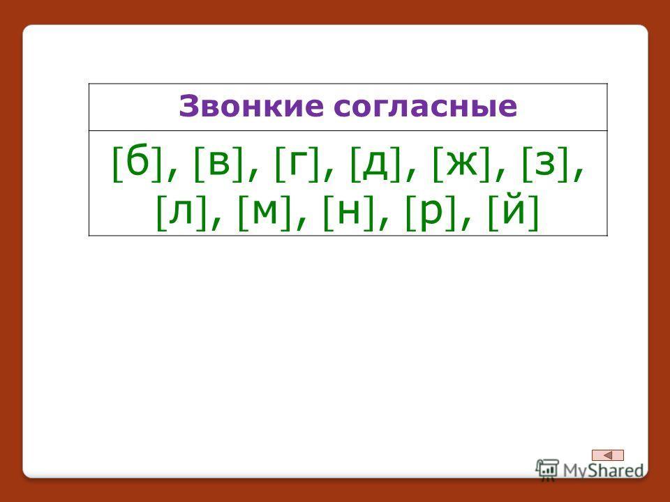 Звонкие согласные б, в, г, д, ж, з,л, м, н, р, й