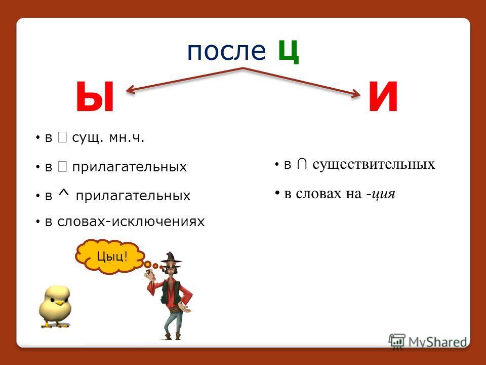 ЫИ после Ц в сущ. мн.ч. в прилагательных в ^ прилагательных в словах-исключениях Цыц! в существительных в словах на -ция
