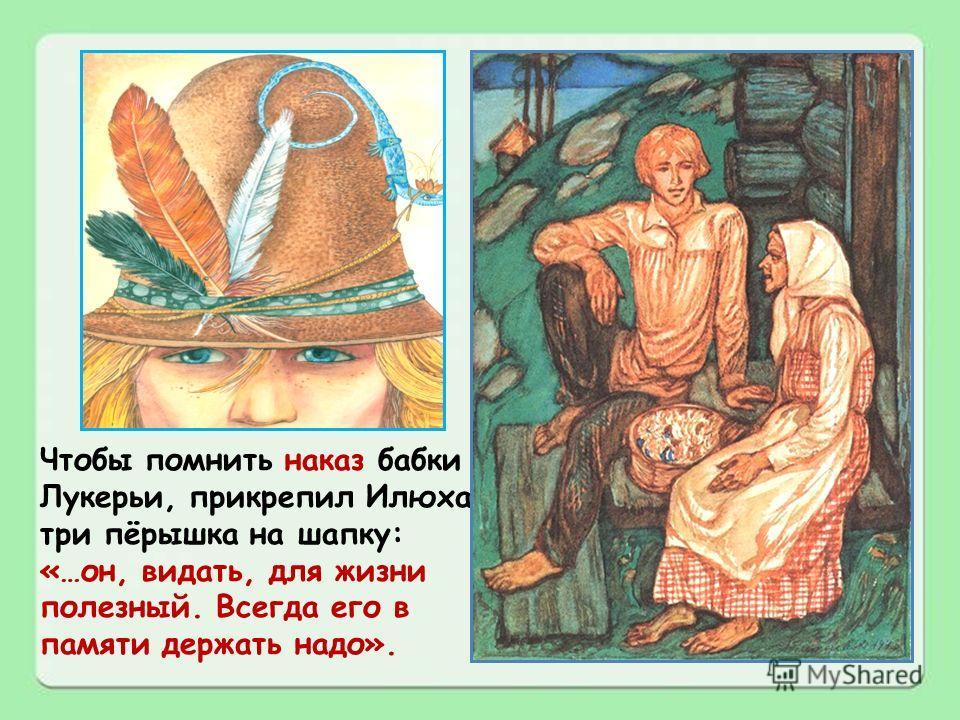 Чтобы помнить наказ бабки Лукерьи, прикрепил Илюха три пёрышка на шапку: «…он, видать, для жизни полезный. Всегда его в памяти держать надо».
