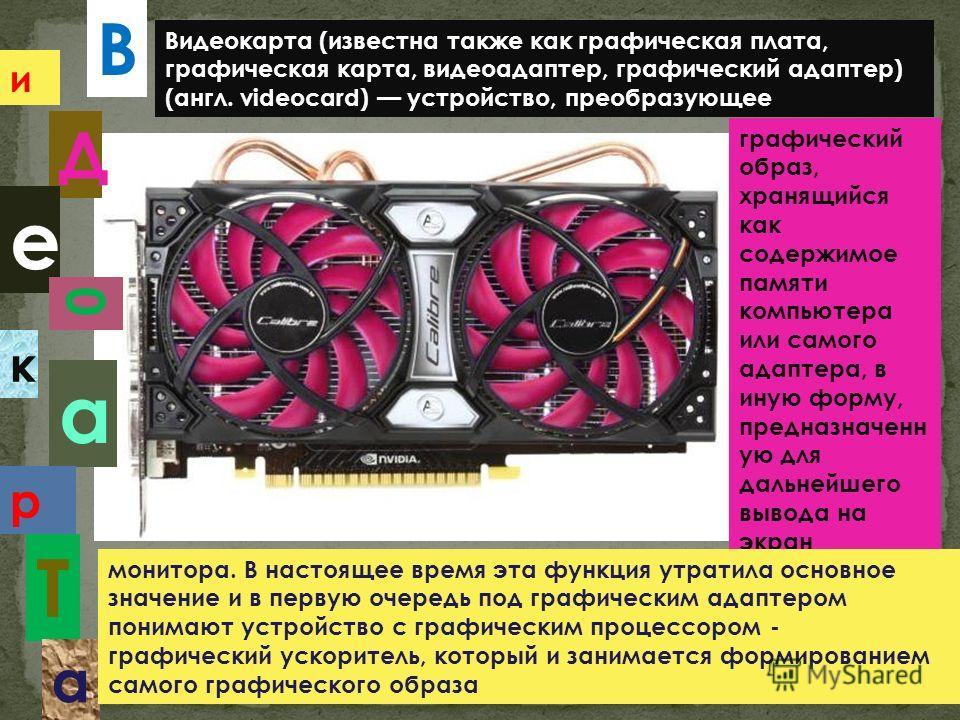 В и Д е 0 к а р Т а Видеокарта (известна также как графическая плата, графическая карта, видеоадаптер, графический адаптер) (англ. videocard) устройство, преобразующее графический образ, хранящийся как содержимое памяти компьютера или самого адаптера
