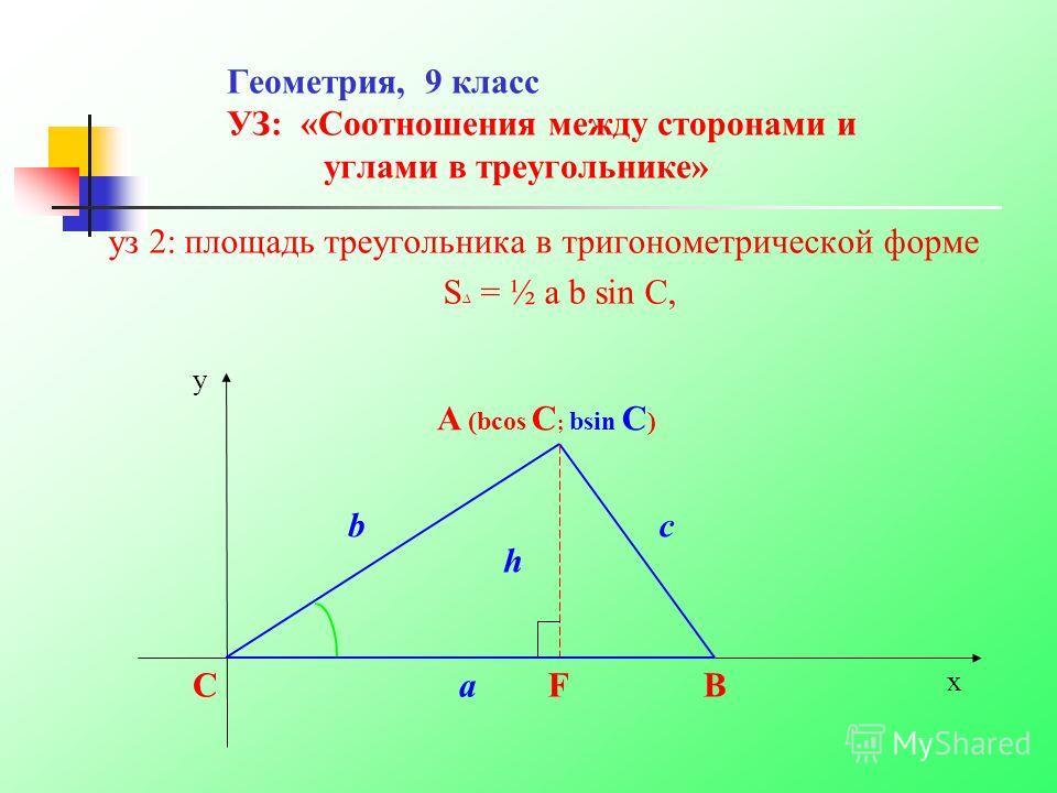 Геометрия, 9 класс УЗ: «Соотношения между сторонами и углами в треугольнике» уз 2: площадь треугольника в тригонометрической форме S = ½ a b sin C, y c B x C b a A (bcos C ; bsin C ) h F