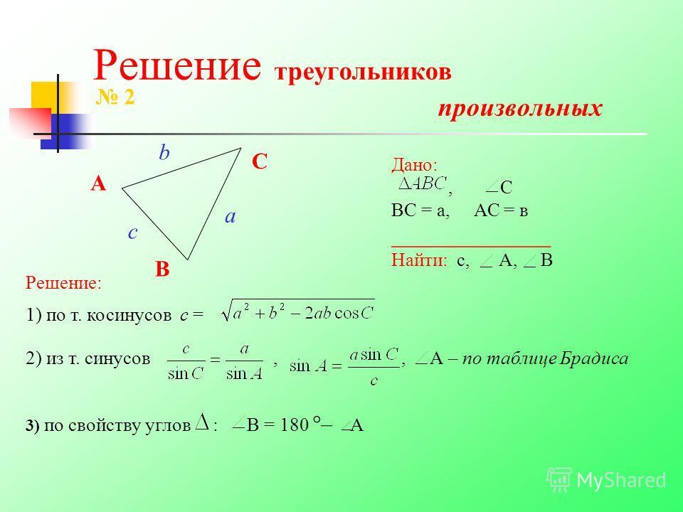 Решение треугольников произвольных A B C 2 Дано:, С ВС = а, АС = в ______________ Найти: с, А, В a c b Решение: 1) по т. косинусов с = 2) из т. синусов,, А – по таблице Брадиса 3) по свойству углов : В = 180 °– А
