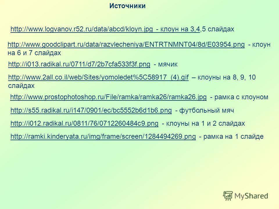 Источники http://www.goodclipart.ru/data/razvlecheniya/ENTRTNMNT04/8d/E03954.pnghttp://www.goodclipart.ru/data/razvlecheniya/ENTRTNMNT04/8d/E03954.png - клоун на 6 и 7 слайдах http://i013.radikal.ru/0711/d7/2b7cfa533f3f.pnghttp://i013.radikal.ru/0711