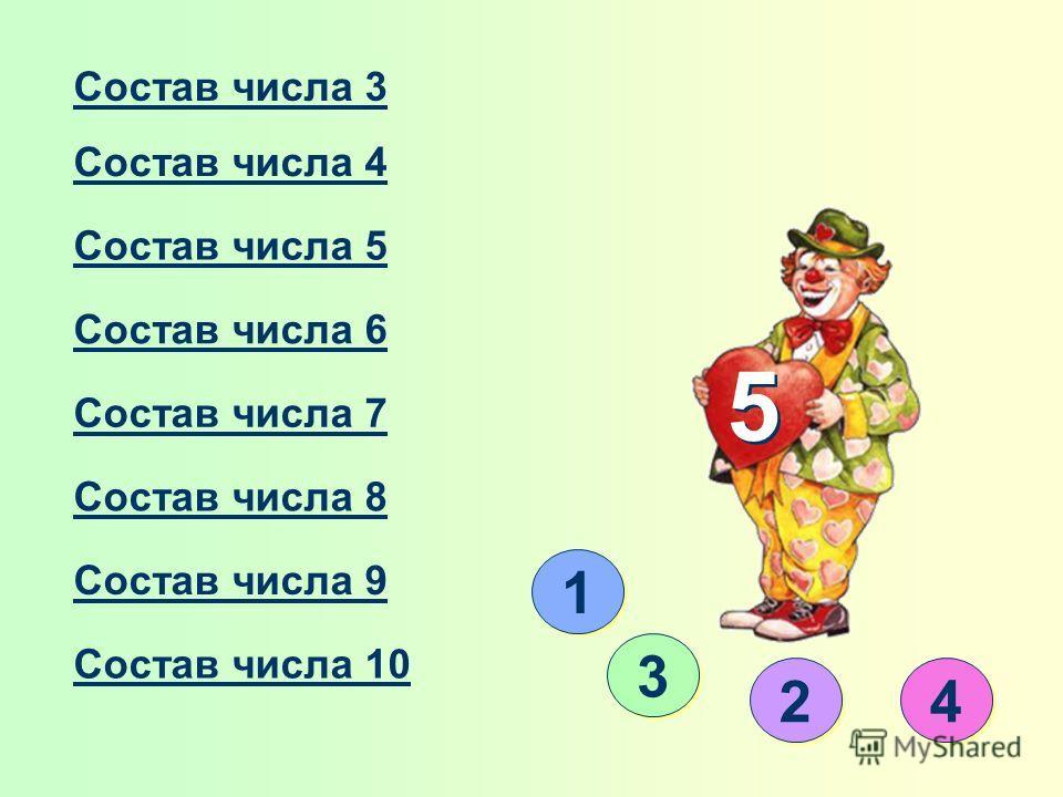 Состав числа 3 Состав числа 4 Состав числа 5 Состав числа 6 Состав числа 7 Состав числа 8 Состав числа 9 Состав числа 10 1 1 5 5 3 3 2 2 4 4