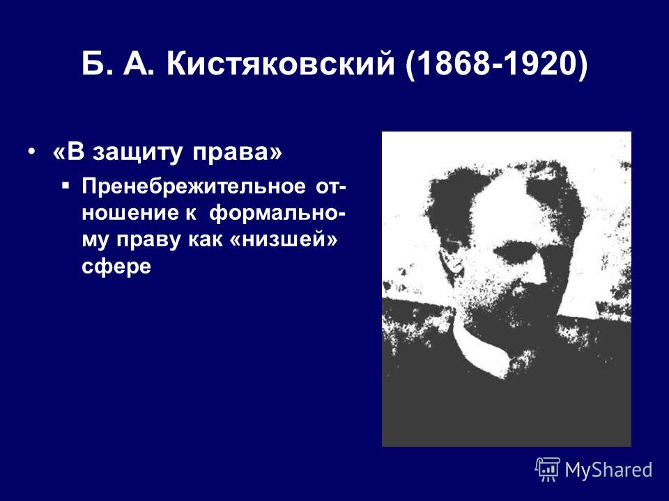 Б. А. Кистяковский (1868-1920) «В защиту права» Пренебрежительное от- ношение к формально- му праву как «низшей» сфере