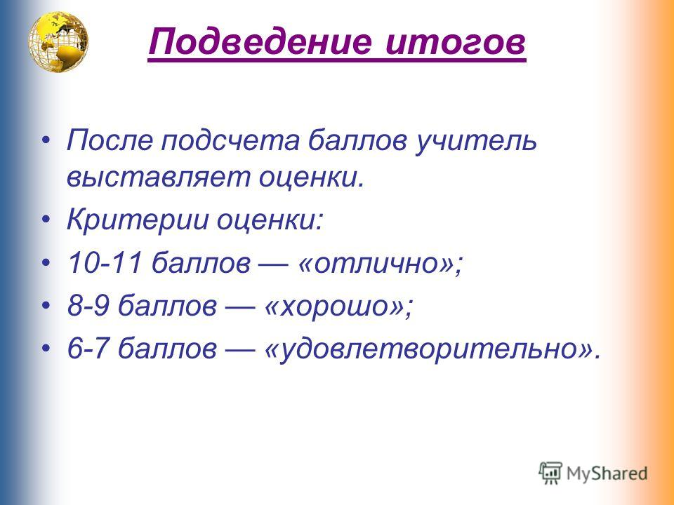 Подведение итогов После подсчета баллов учитель выставляет оценки. Критерии оценки: 10-11 баллов «отлично»; 8-9 баллов «хорошо»; 6-7 баллов «удовлетворительно».