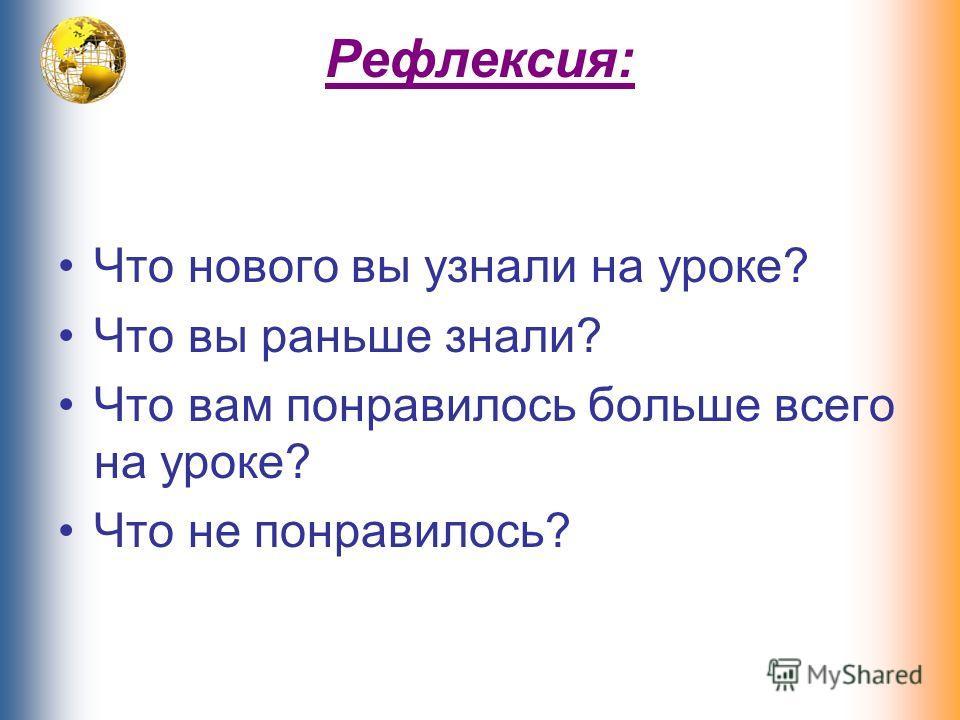 Рефлексия: Что нового вы узнали на уроке? Что вы раньше знали? Что вам понравилось больше всего на уроке? Что не понравилось?